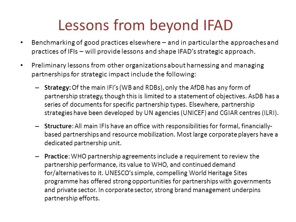 Lessons from beyond IFAD