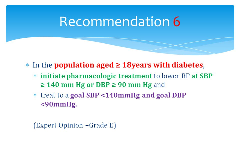 Recommendation 6 In the population aged ≥ 18years with diabetes,