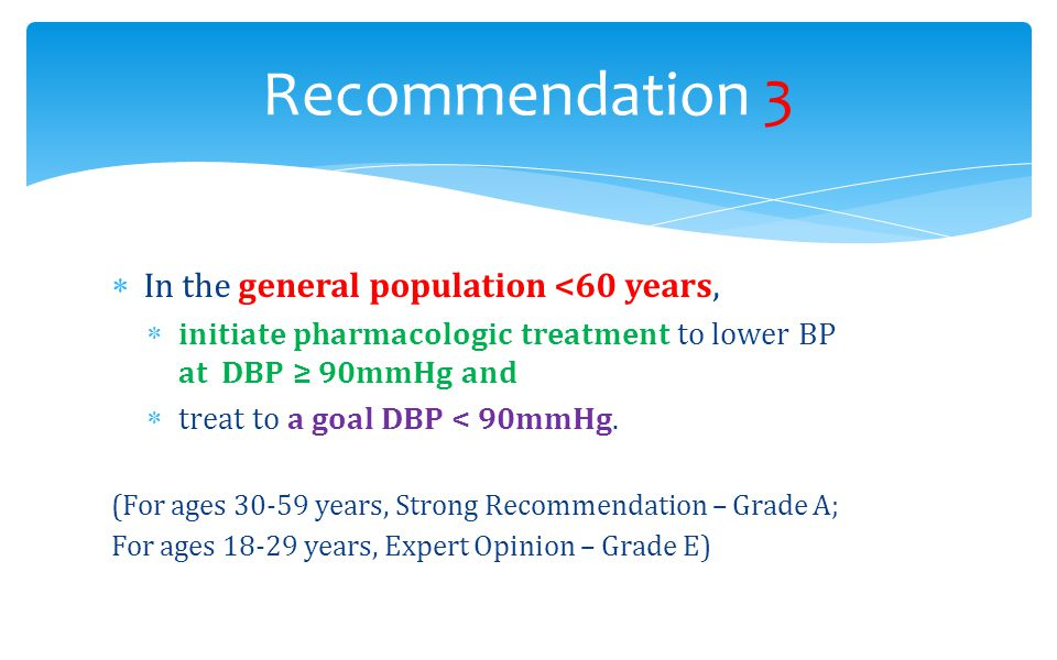 Recommendation 3 In the general population <60 years,