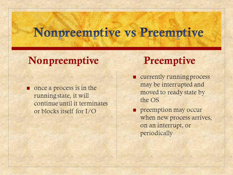 Nonpreemptive vs Preemptive