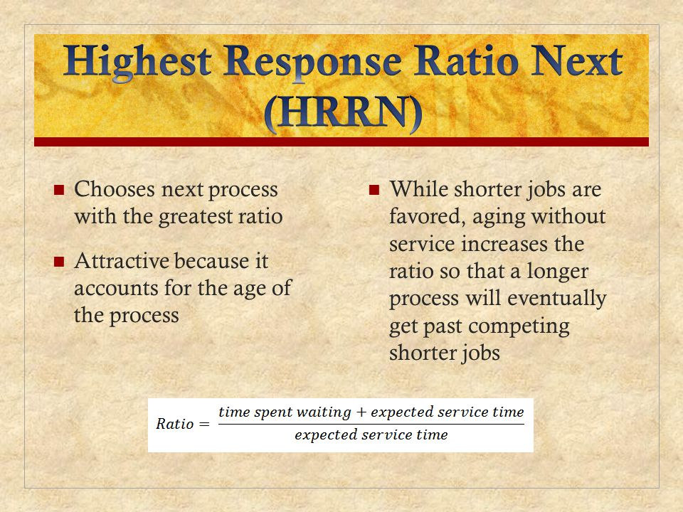 Highest Response Ratio Next (HRRN)