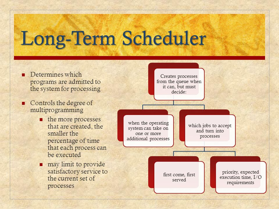 Long-Term Scheduler Creates processes from the queue when it can, but must decide: