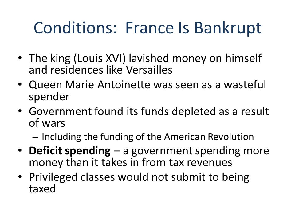 Conditions: France Is Bankrupt