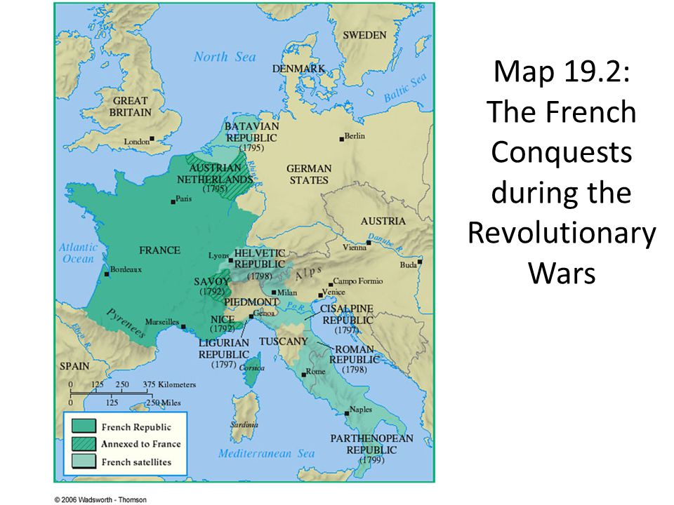 Map 19.2: The French Conquests during the Revolutionary Wars