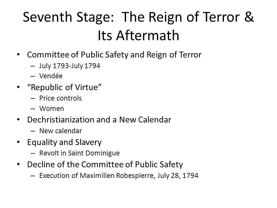 Seventh Stage: The Reign of Terror & Its Aftermath