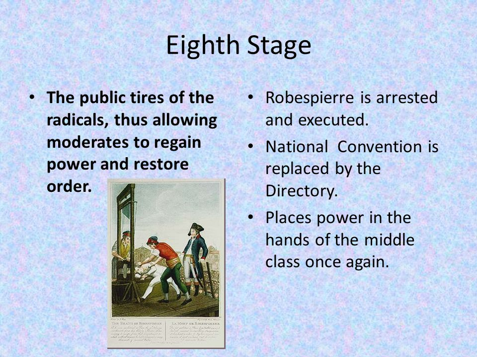 Eighth Stage The public tires of the radicals, thus allowing moderates to regain power and restore order.