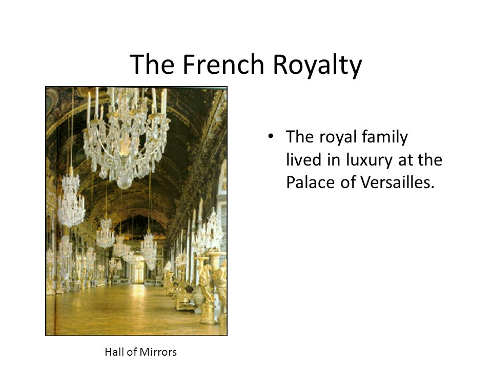 The French Royalty The royal family lived in luxury at the Palace of Versailles. Play Vivaldi's Four Seasons.