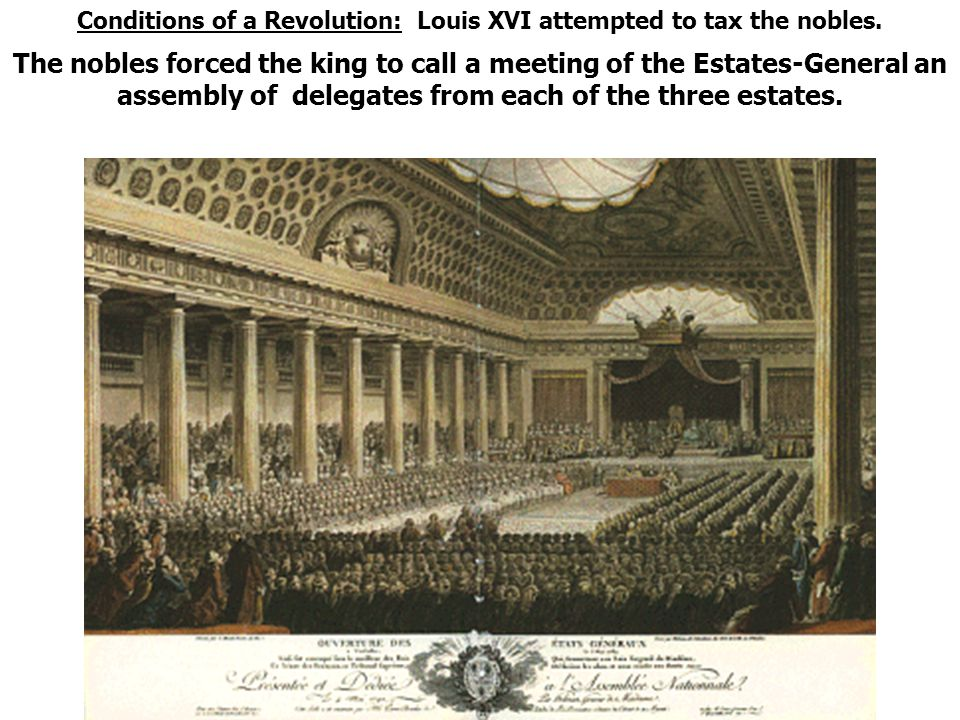 Conditions of a Revolution: Louis XVI attempted to tax the nobles.