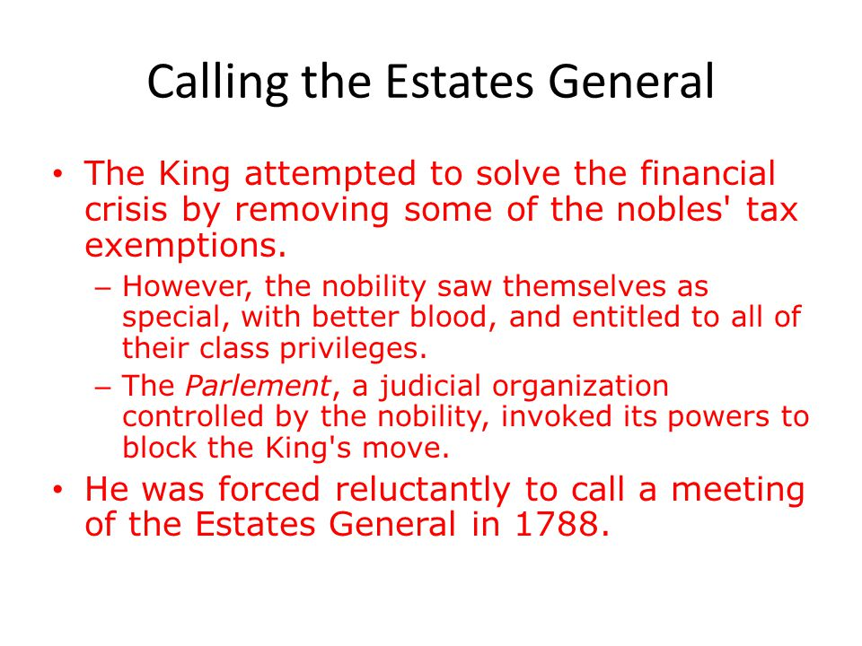Calling the Estates General