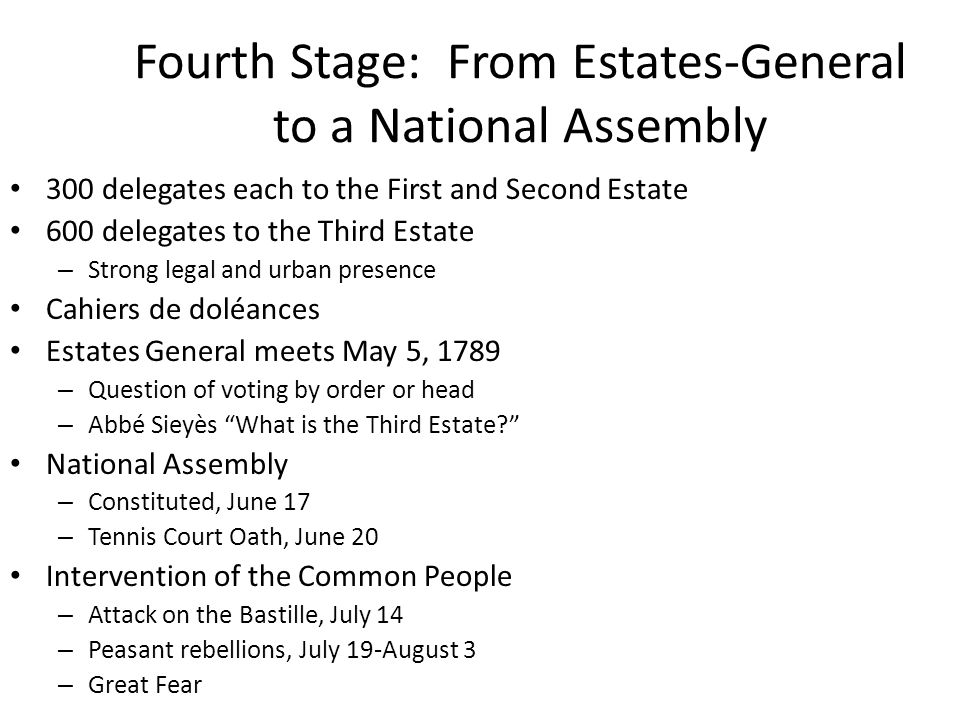 Fourth Stage: From Estates-General to a National Assembly