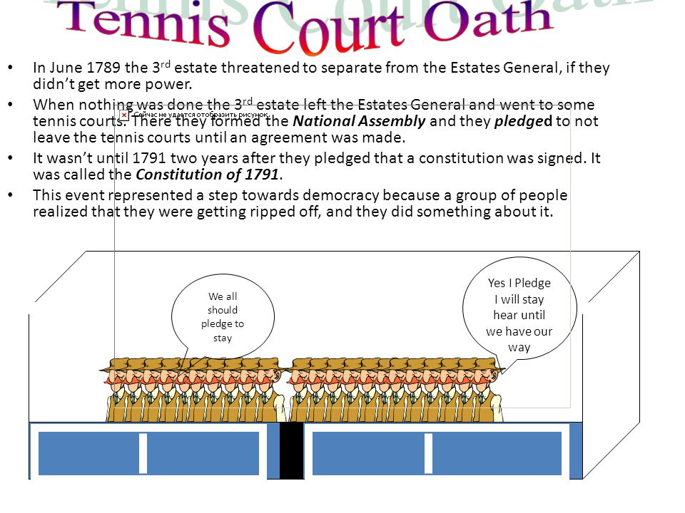 Tennis Court Oath In June 1789 the 3rd estate threatened to separate from the Estates General, if they didn't get more power.