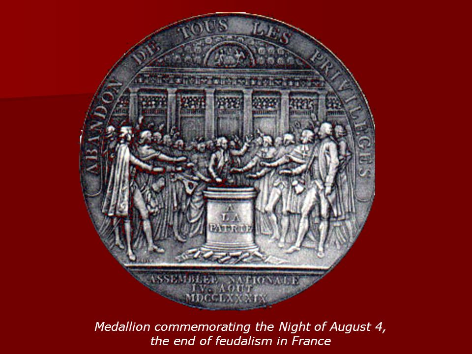 Medallion commemorating the Night of August 4, the end of feudalism in France