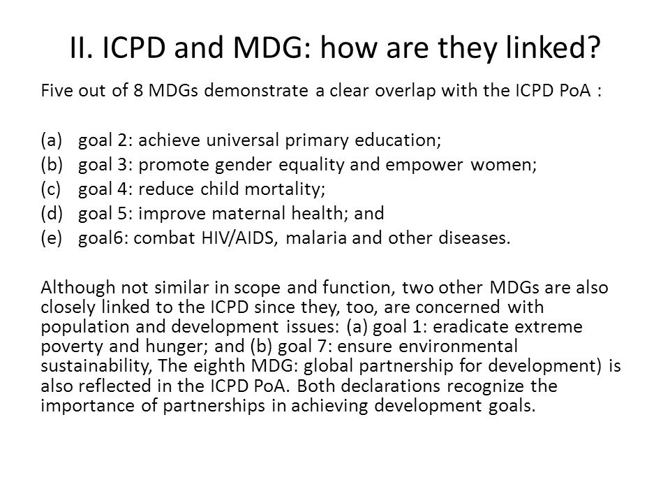 II. ICPD and MDG: how are they linked