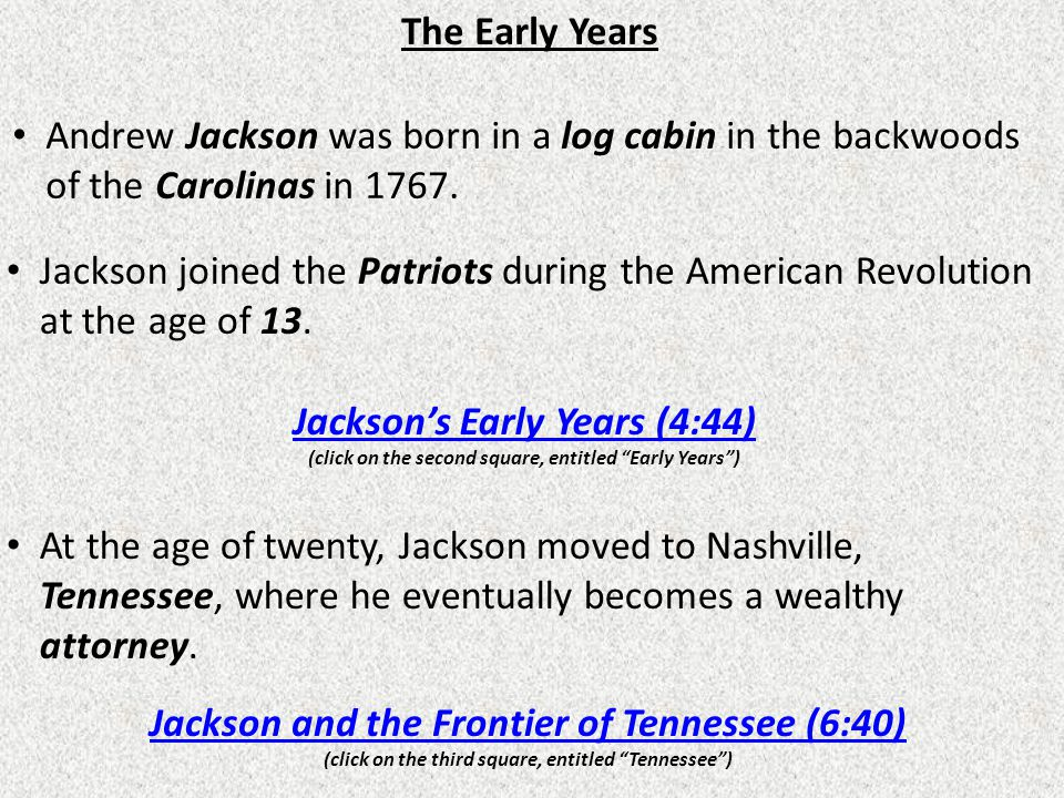 Jackson and the Frontier of Tennessee (6:40)
