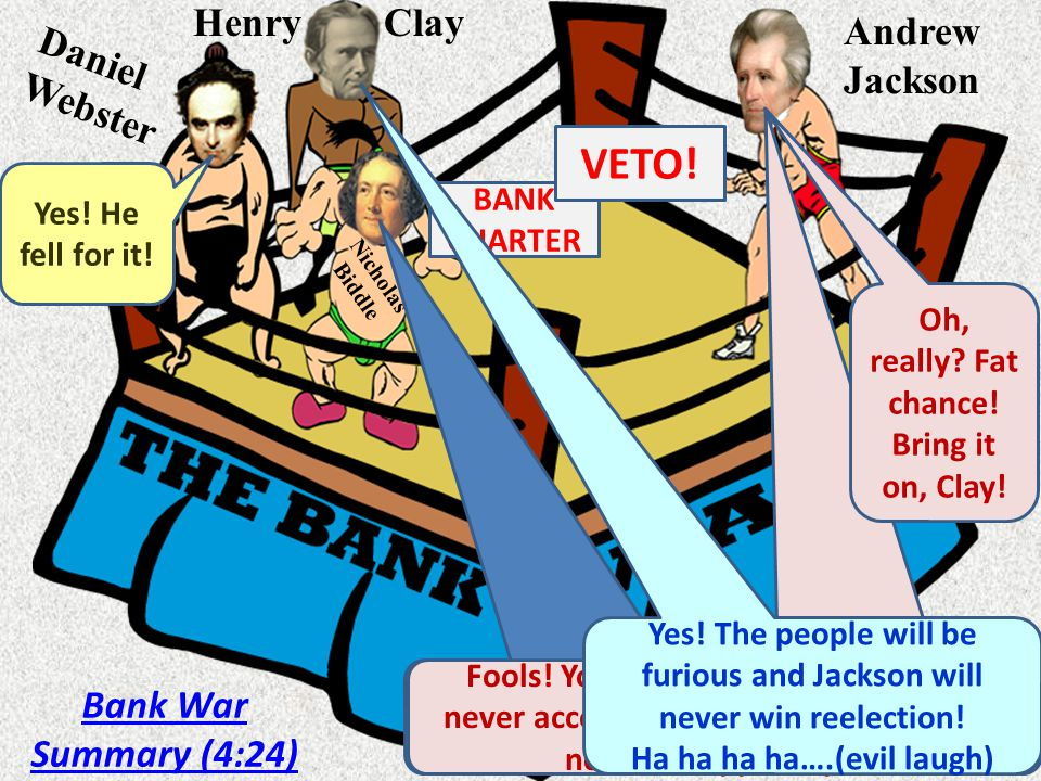 andrew jackson and the bank war summary The bank war erupted in 1832, when daniel webster and henry clay presented congress a bill to renew charter of the bank of the united states (they wanted to make it an election issue) if jackson signed for the bank, he would lose his western followers.