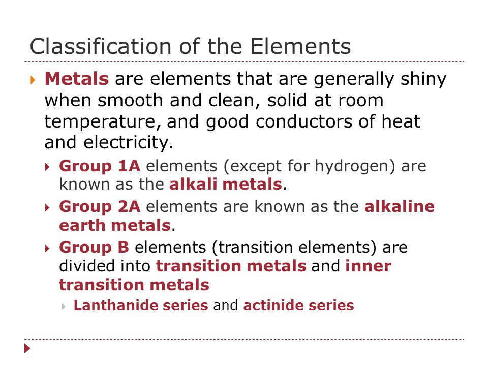Classification of the Elements