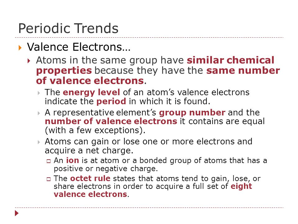 Periodic Trends Valence Electrons…