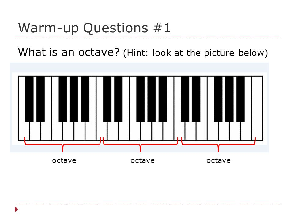 Warm-up Questions #1 What is an octave (Hint: look at the picture below) octave octave octave