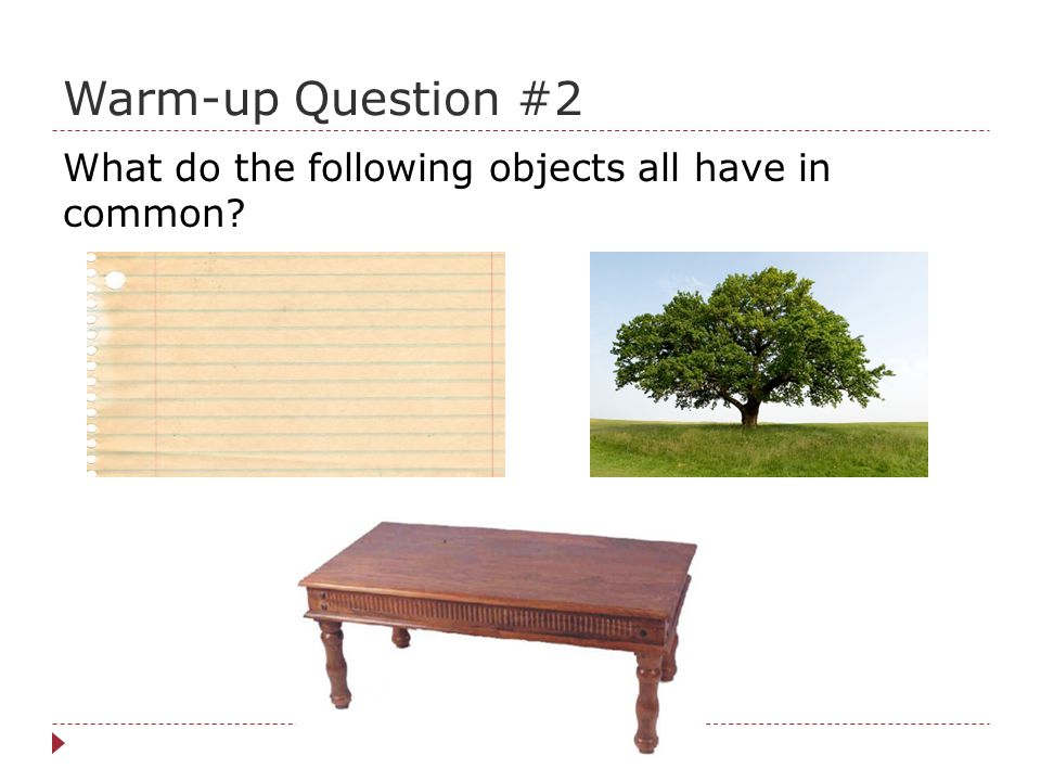 Warm-up Question #2 What do the following objects all have in common