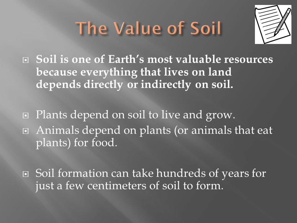 The Value of Soil Soil is one of Earth's most valuable resources because everything that lives on land depends directly or indirectly on soil.