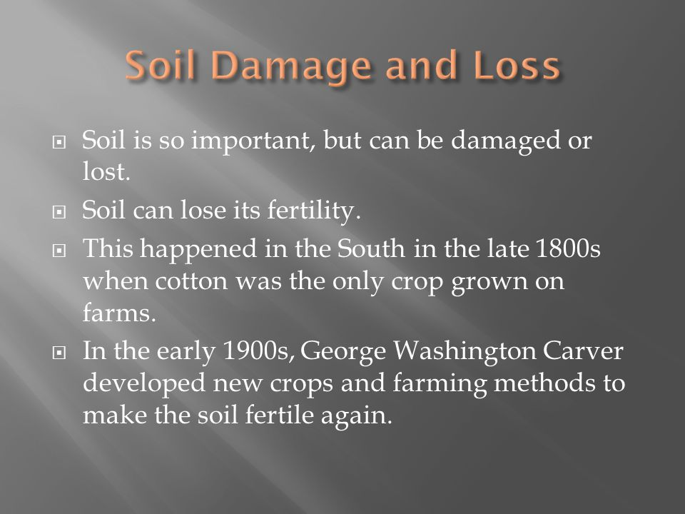 Soil Damage and Loss Soil is so important, but can be damaged or lost.