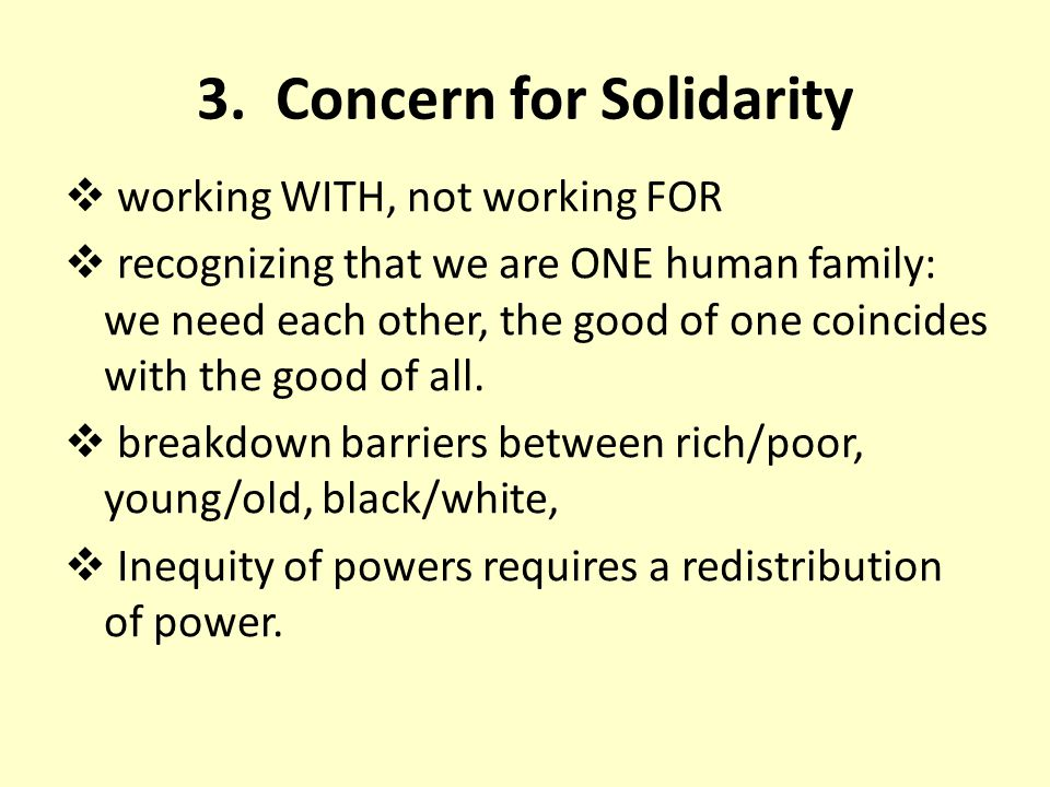 3. Concern for Solidarity