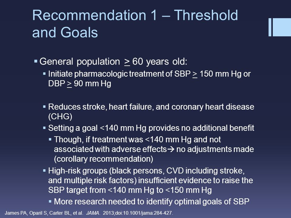 Recommendation 1 – Threshold and Goals