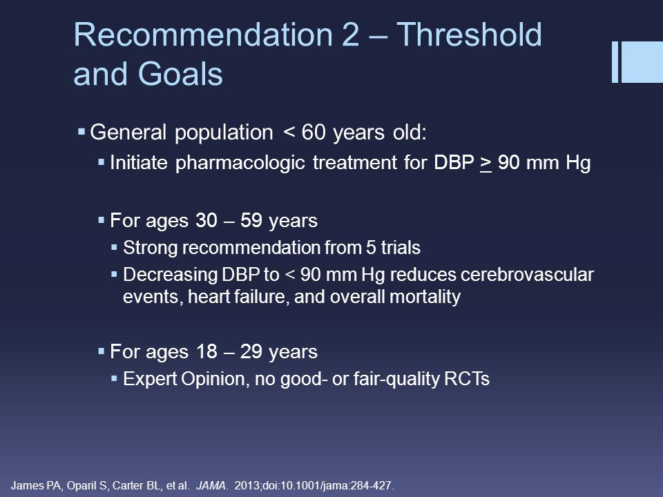 Recommendation 2 – Threshold and Goals