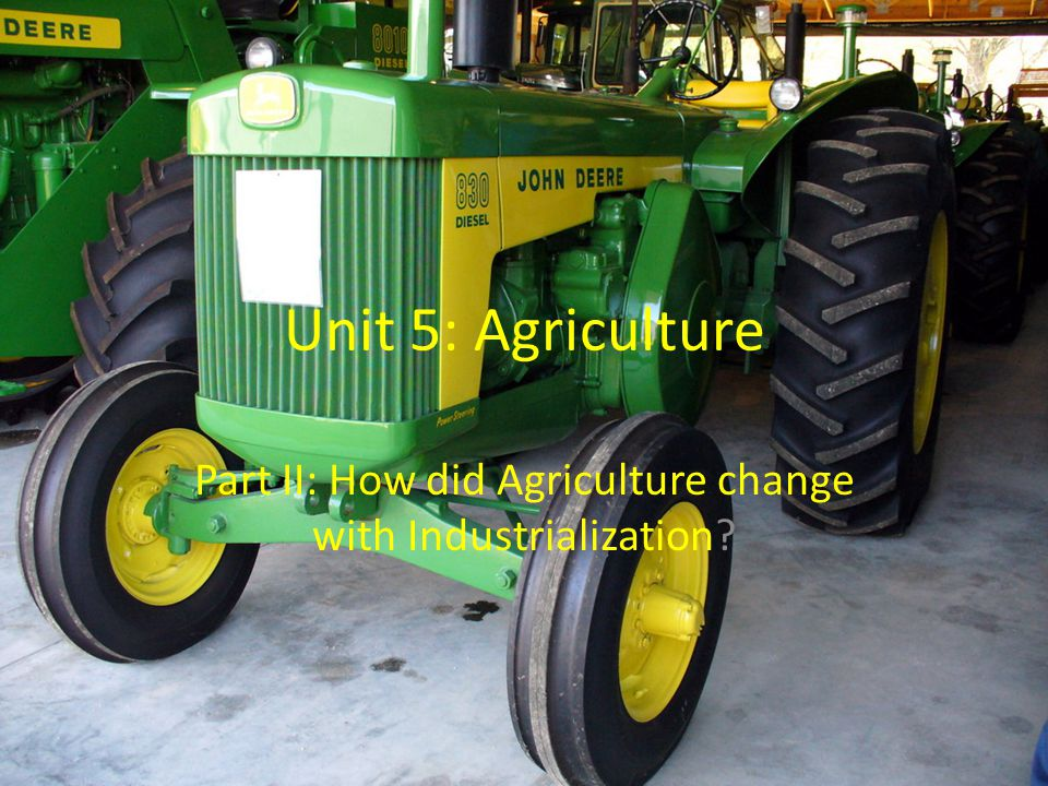 Part II: How did Agriculture change with Industrialization
