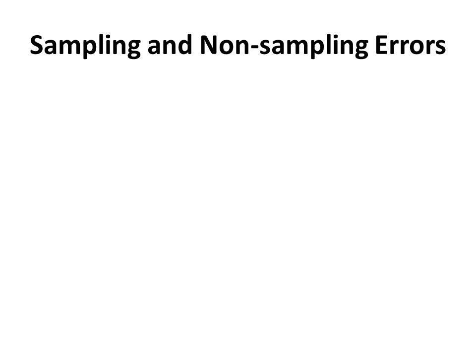 Sampling and Non-sampling Errors