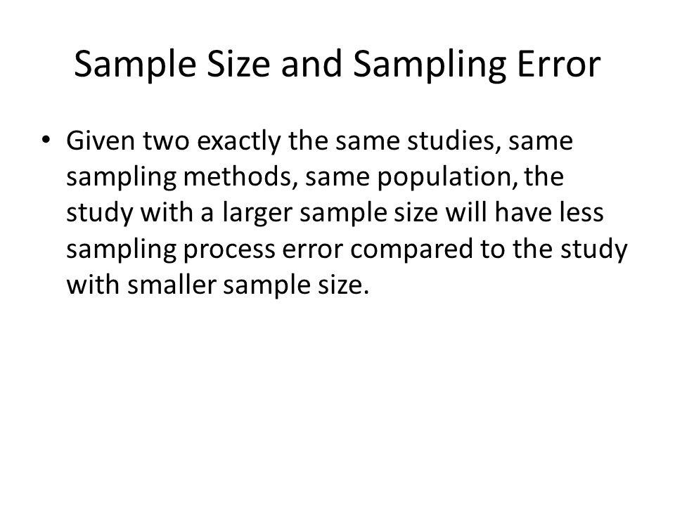Sample Size and Sampling Error
