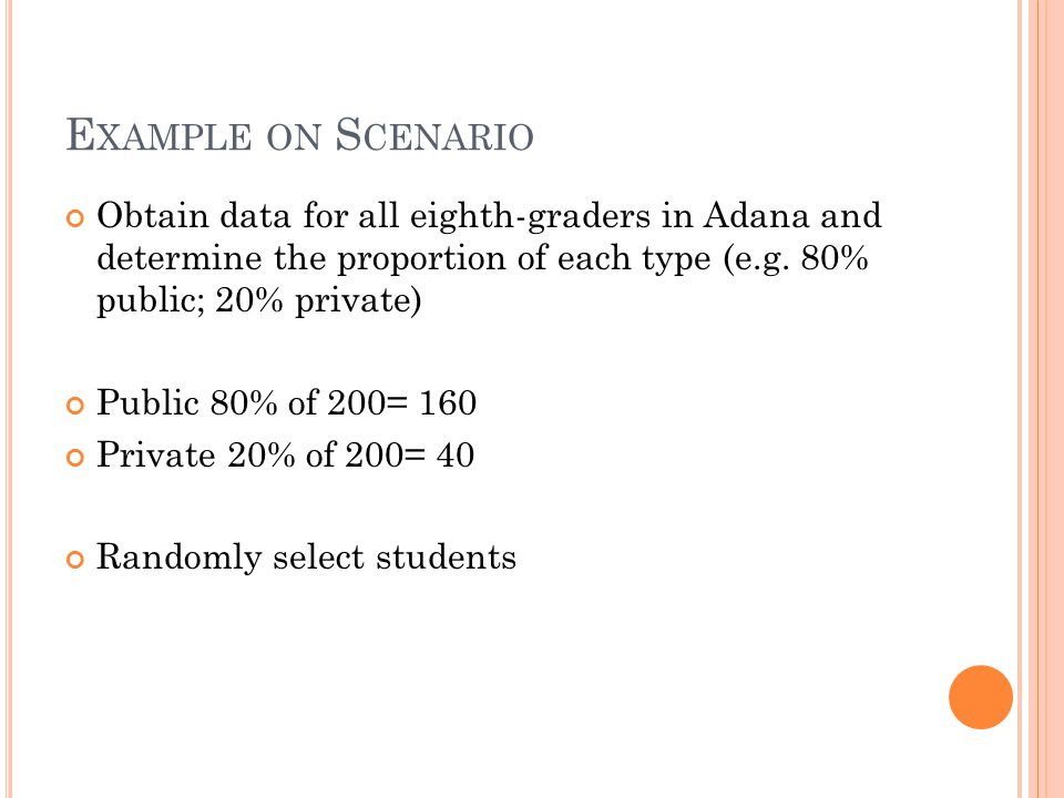 Example on Scenario Obtain data for all eighth-graders in Adana and determine the proportion of each type (e.g. 80% public; 20% private)