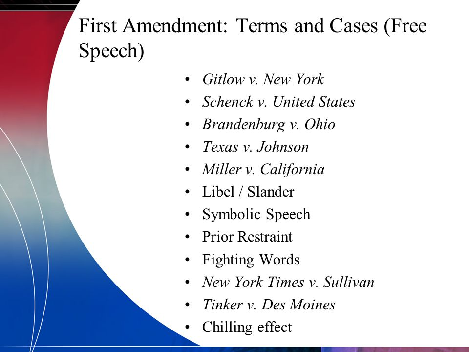 First Amendment: Terms and Cases (Free Speech)