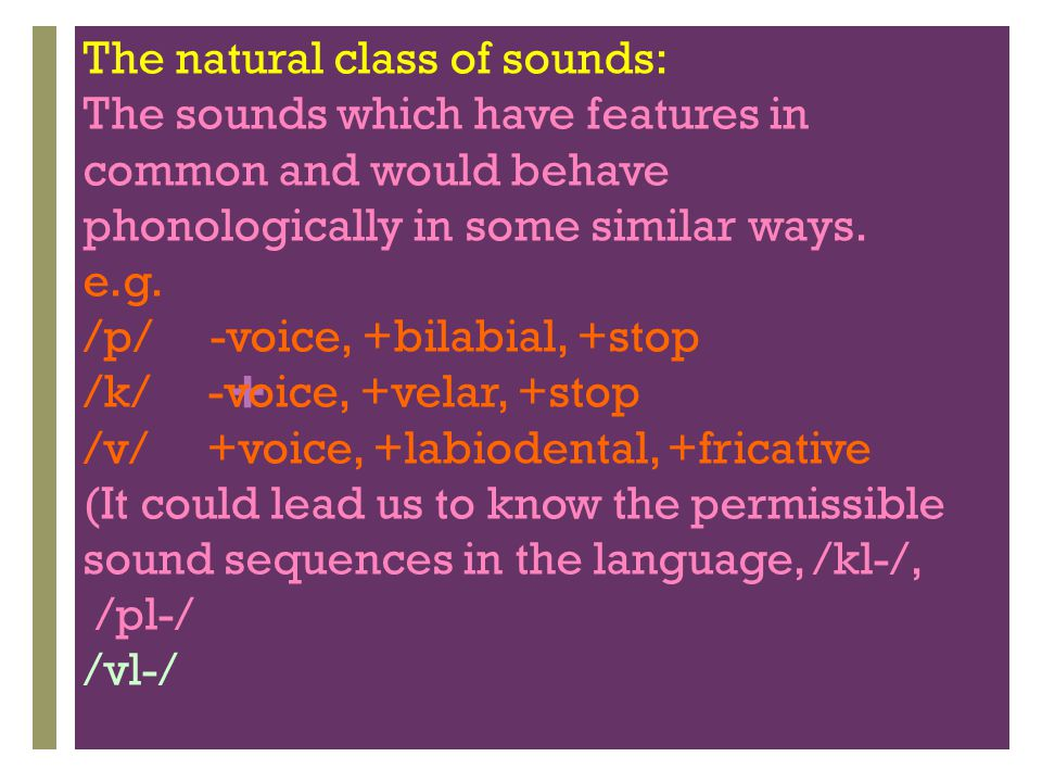 The natural class of sounds: