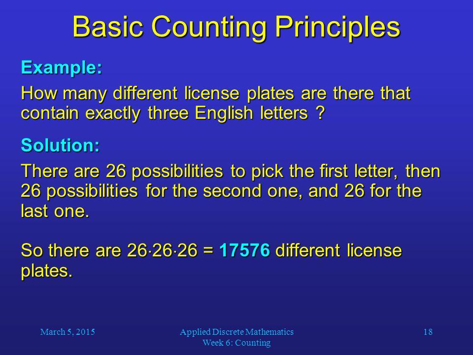 Basic Counting Principles