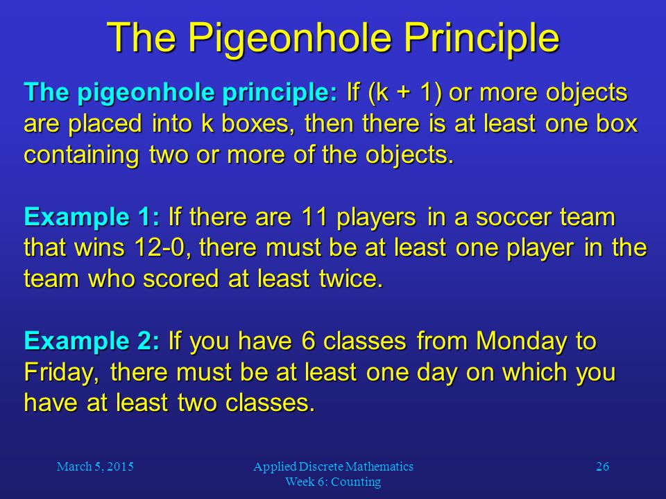 The Pigeonhole Principle