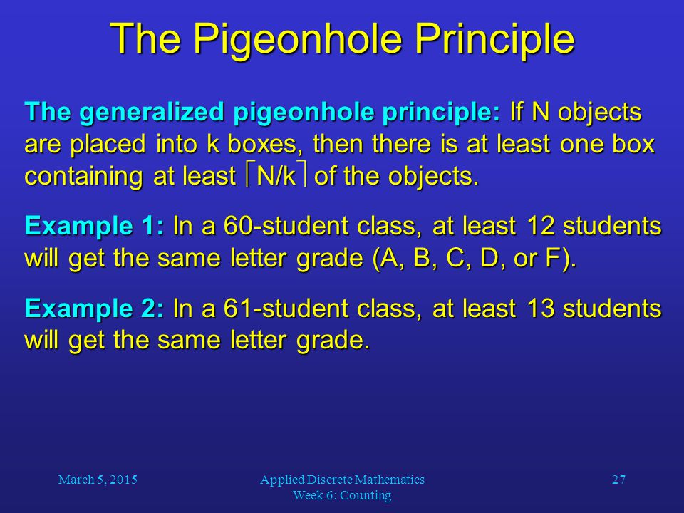 The pigeonhole principle forms