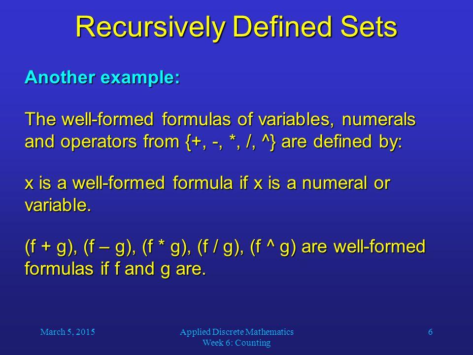 Recursively Defined Sets