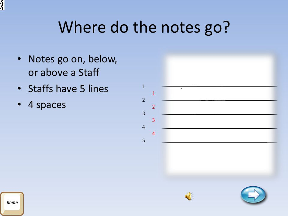 Where do the notes go Notes go on, below, or above a Staff