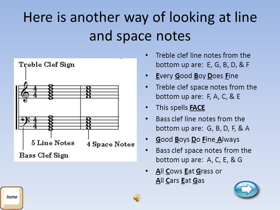 Here is another way of looking at line and space notes