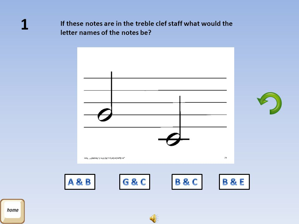 1 If these notes are in the treble clef staff what would the letter names of the notes be A & B. G & C.