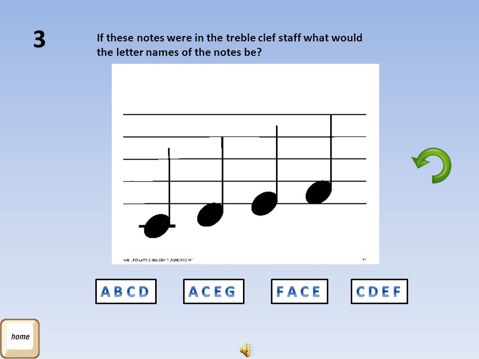 3 If these notes were in the treble clef staff what would the letter names of the notes be A B C D.