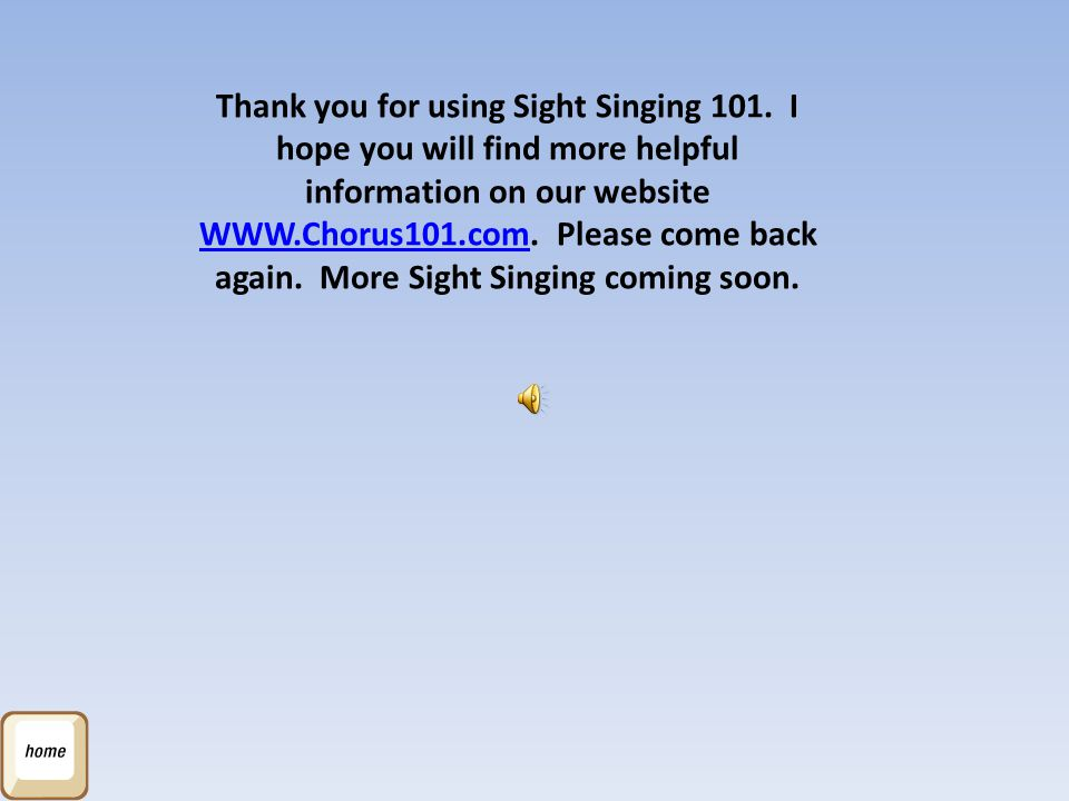 Thank you for using Sight Singing 101