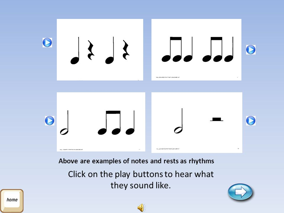 Above are examples of notes and rests as rhythms