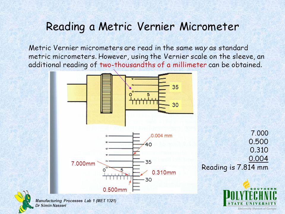 Reading a Metric Vernier Micrometer
