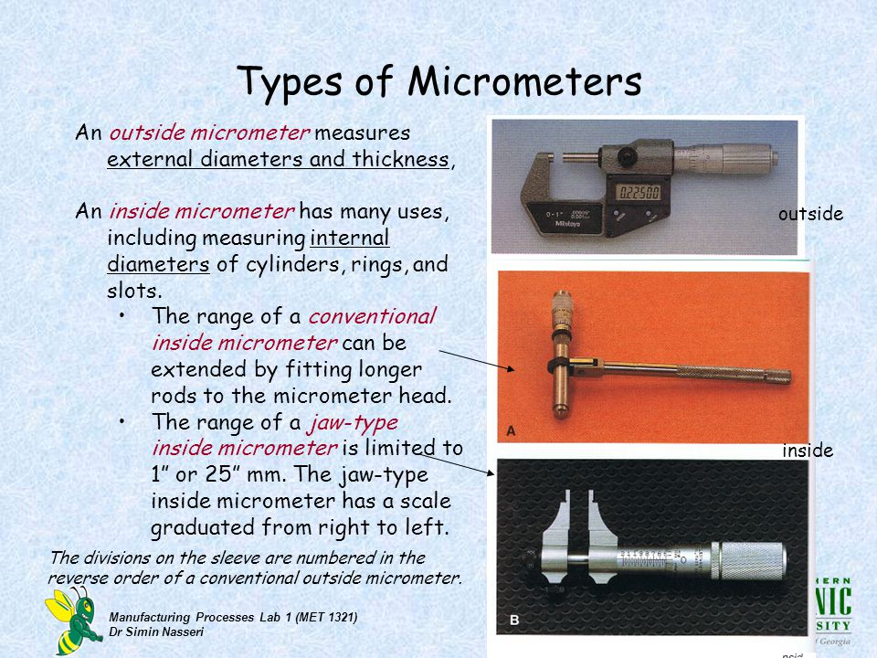 Types of Micrometers An outside micrometer measures external diameters and thickness,