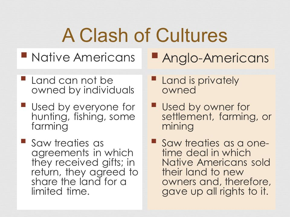 A Clash of Cultures Anglo-Americans Native Americans
