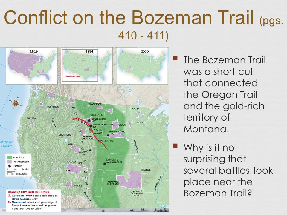 Bozeman trail on map of us