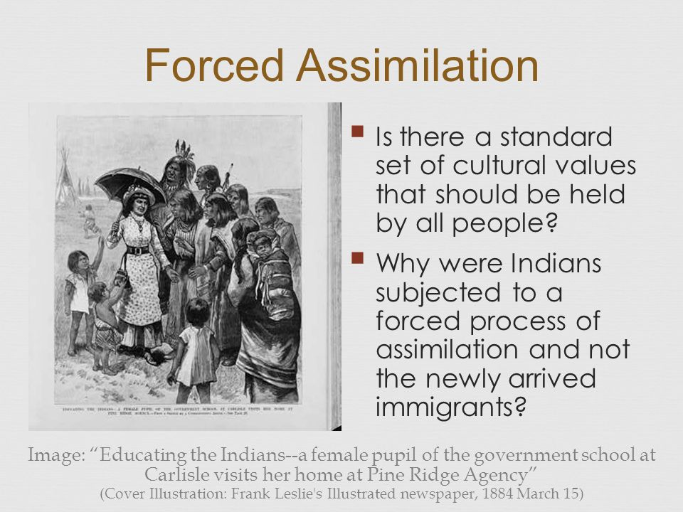 Forced Assimilation Is there a standard set of cultural values that should be held by all people
