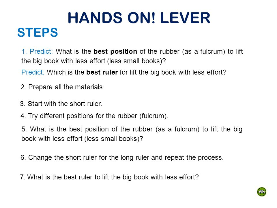 HANDS ON! LEVER STEPS.